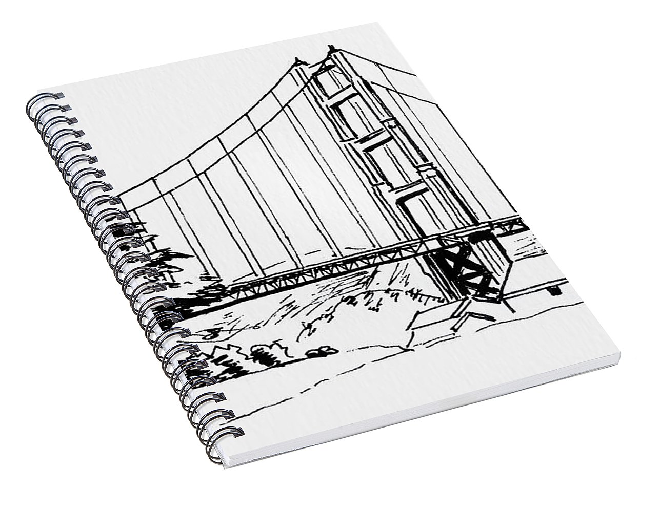 1287x1000 Golden Gate Bridge Black N White Spiral Notebook For Sale By Masha