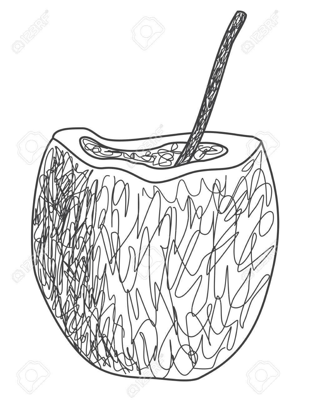 1005x1300 Simple Drawing Of Coconut Drink With A Straw Royalty Free Cliparts