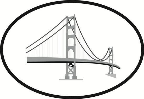 550x379 Golden Gate Oval Euro Bumper Sticker Oval Envy