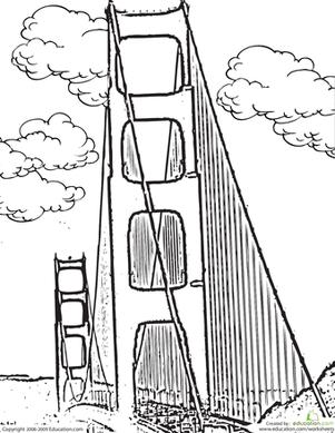301x389 Color The Golden Gate Bridge Worksheet