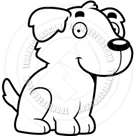 460x460 Cartoon Golden Retriever Dog Sitting (Black And White Line Art) By