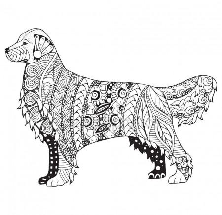 450x434 Golden Retriever Dog Zentangle Stylized Head, Freehand Pencil