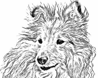 340x270 Dog Line Drawing Etsy