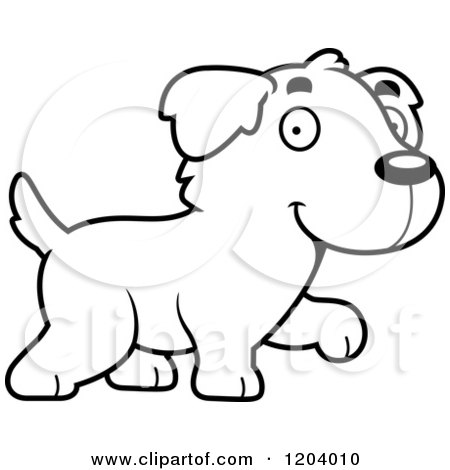 450x470 Cartoon Of A Black And White Cute Golden Retriever Puppy Walking