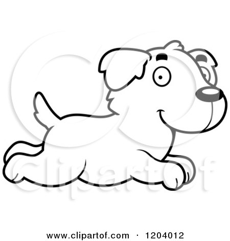 450x470 Cartoon Of A Black And White Cute Golden Retriever Puppy With Dog