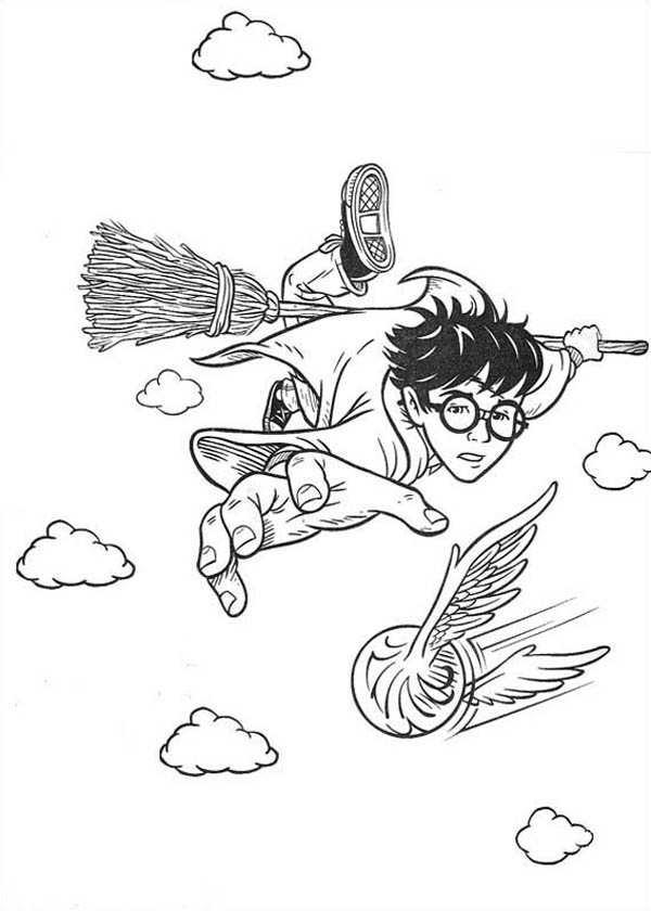 600x840 Harry Potter Catching Snitch Coloring Page