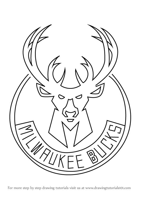 596x843 Learn How To Draw Milwaukee Bucks Logo (Nba) Step By Step