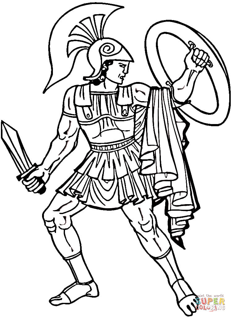 750x1028 Warriors Coloring Pages Greek Warrior Coloring Page Free Printable
