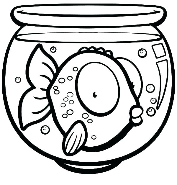 600x627 Fish Bowl Coloring Pages Coloring Page Of Fish Fish Bowl Coloring
