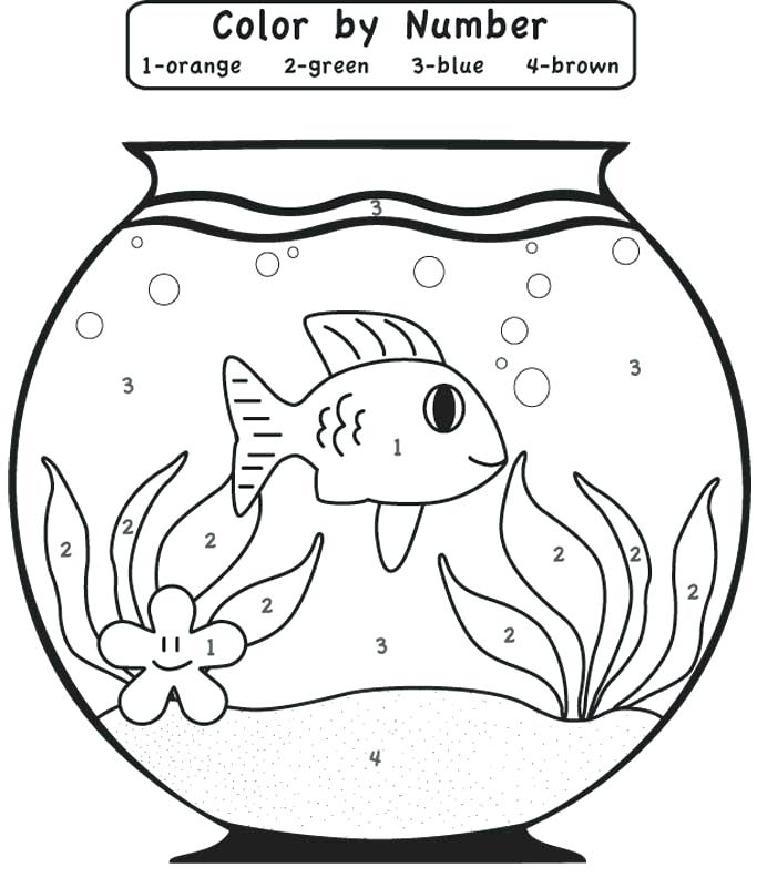 683x792 Fish Bowl Coloring Sheet Color By Number Online Free Empty Fish