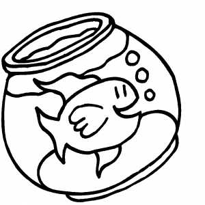 300x300 Happy Goldfish In Bowl Coloring Page