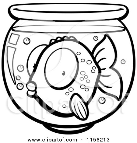450x470 Cartoon Clipart Of A Black And White Surprised Goldfish In A Bowl