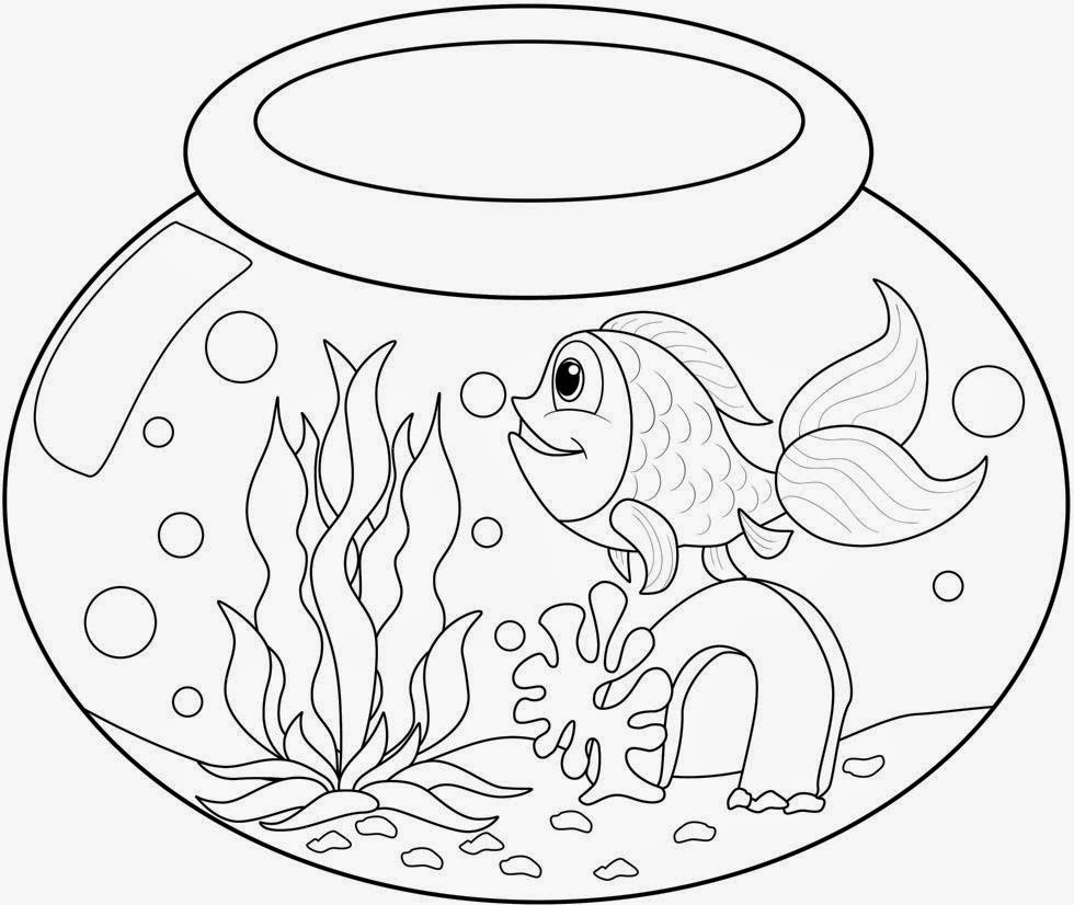 980x826 Fish Bowl Coloring Page