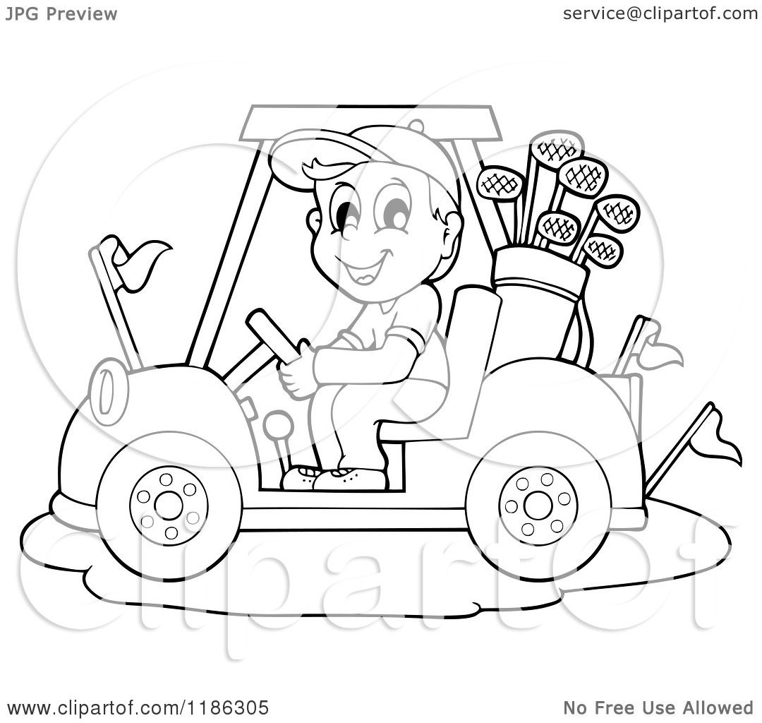 1080x1024 Cartoon Of An Outlined Happy Man Driving A Golf Cart