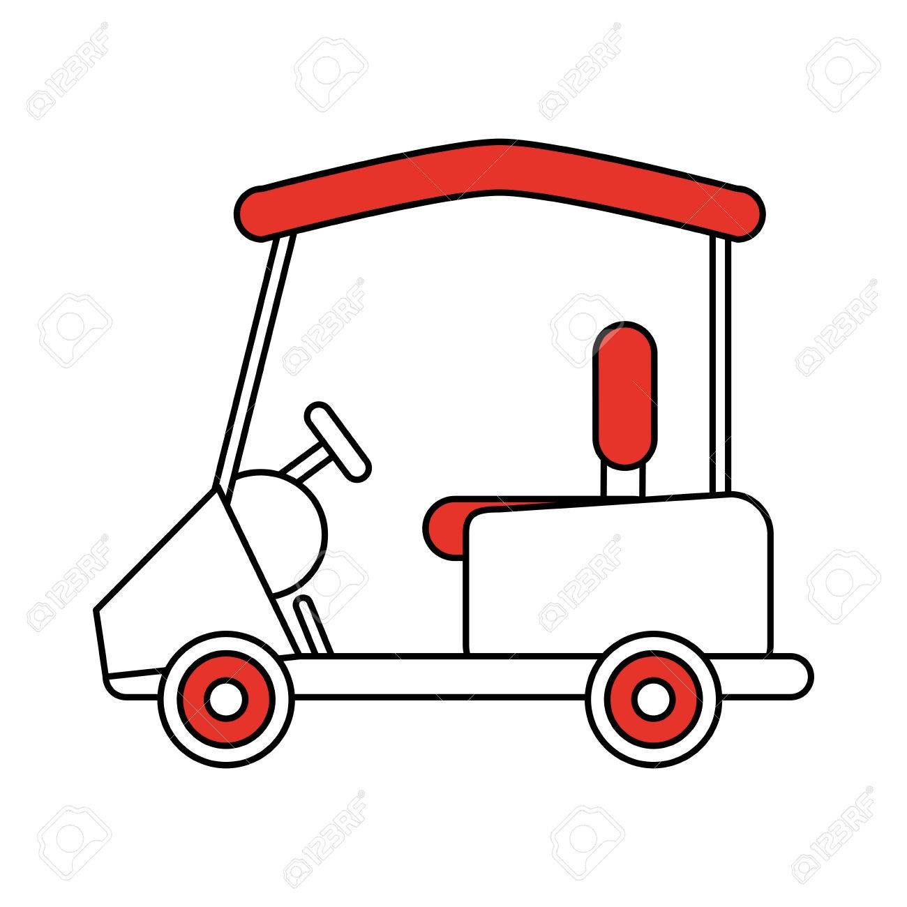 1300x1300 Color Silhouette Cartoon Golf Cart Vehicle Vector Illustration