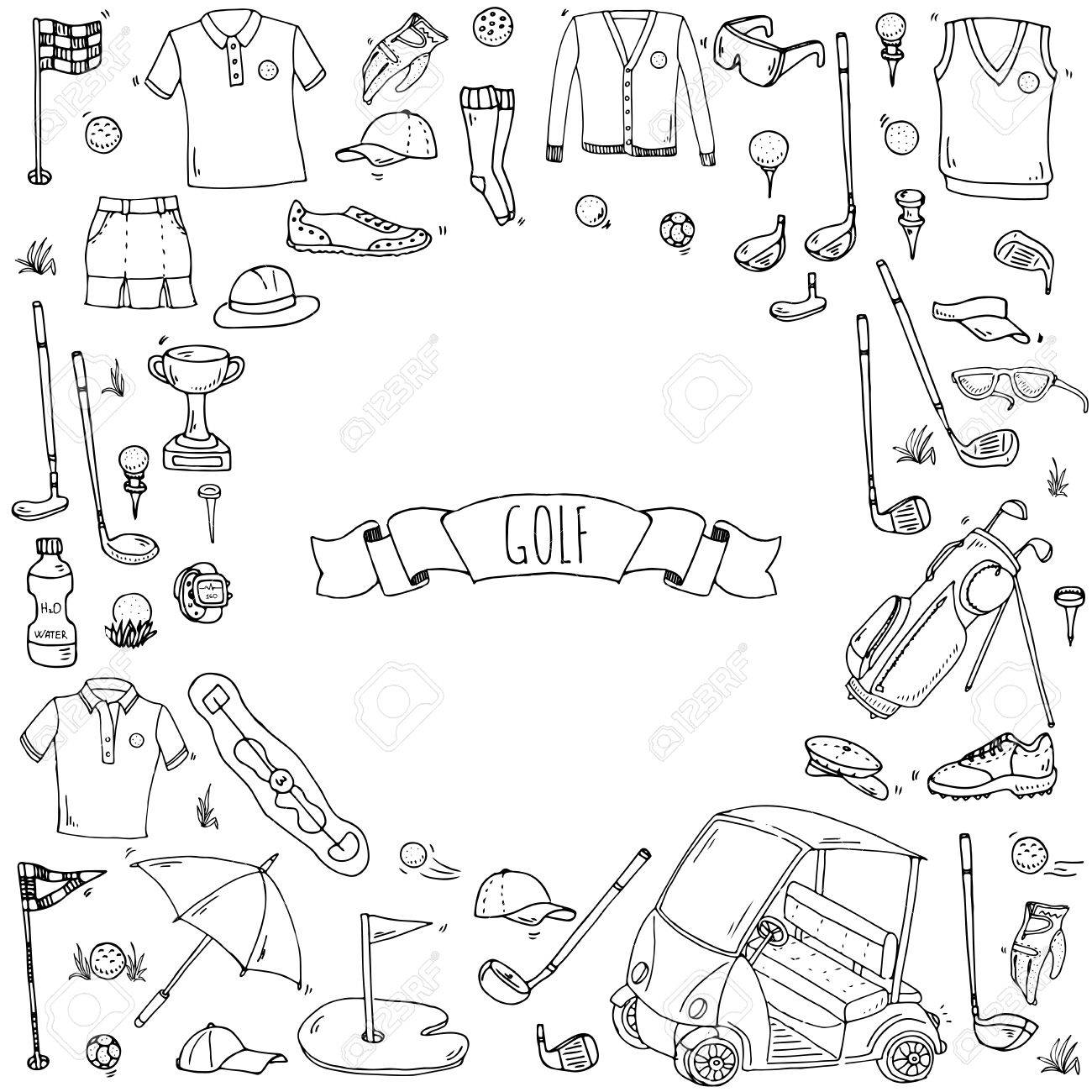 1300x1300 Hand Drawn Doodle Golf Icons Set. Vector Illustration. Game