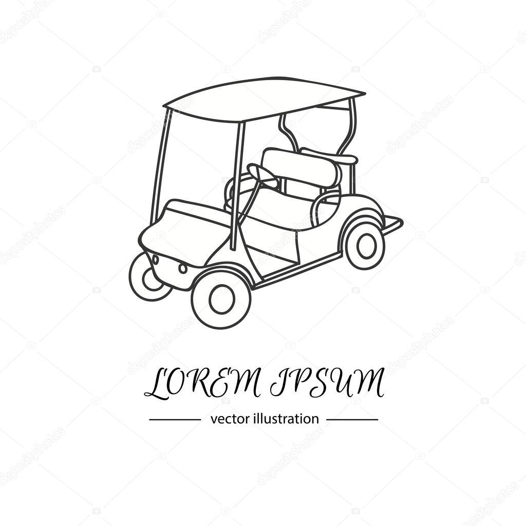 1024x1024 Hand Drawn Icon Of Golf Cart Stock Vector Natasha Pankina