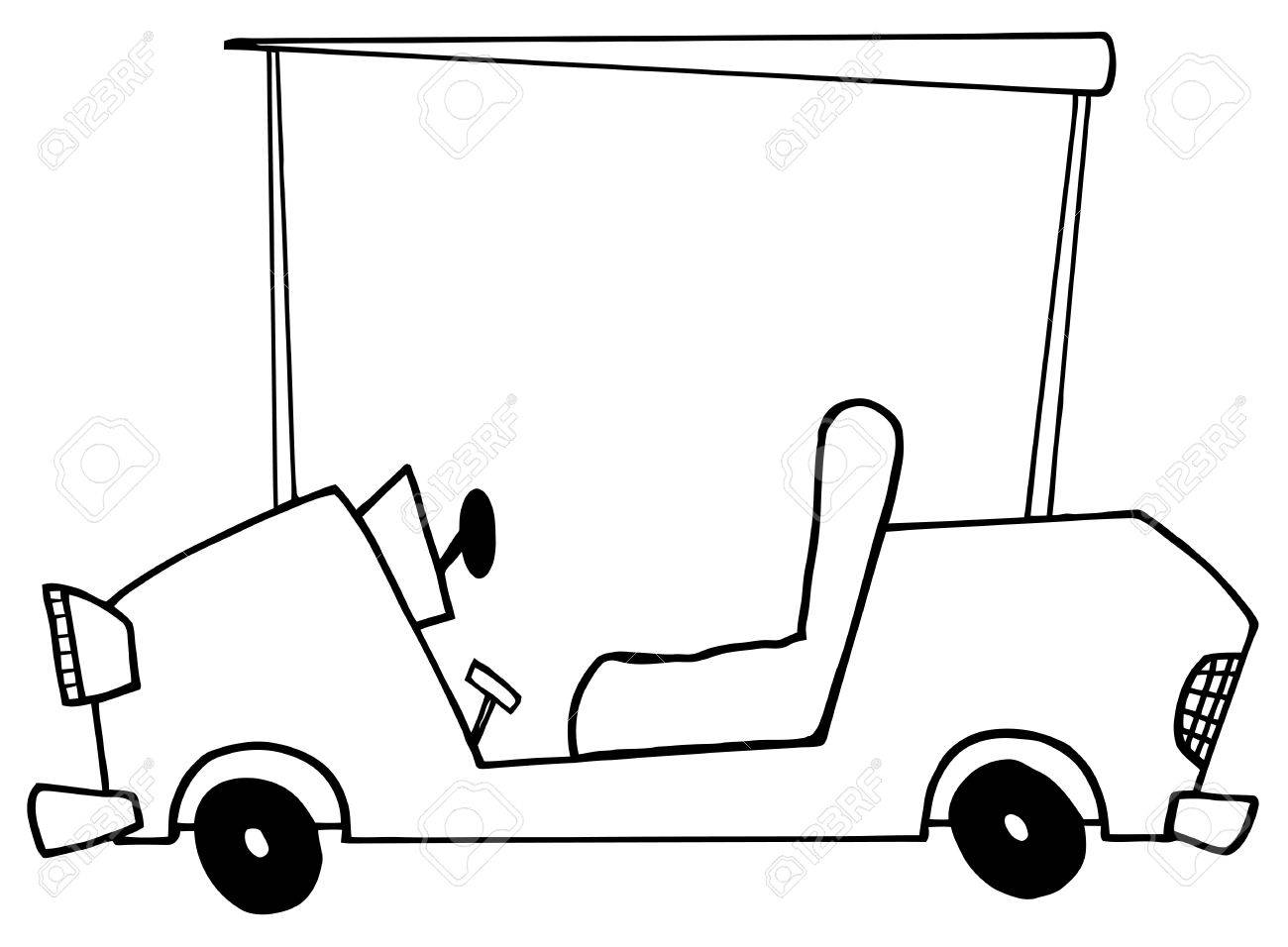 1300x956 Outlined Golf Cart Royalty Free Cliparts, Vectors, And Stock