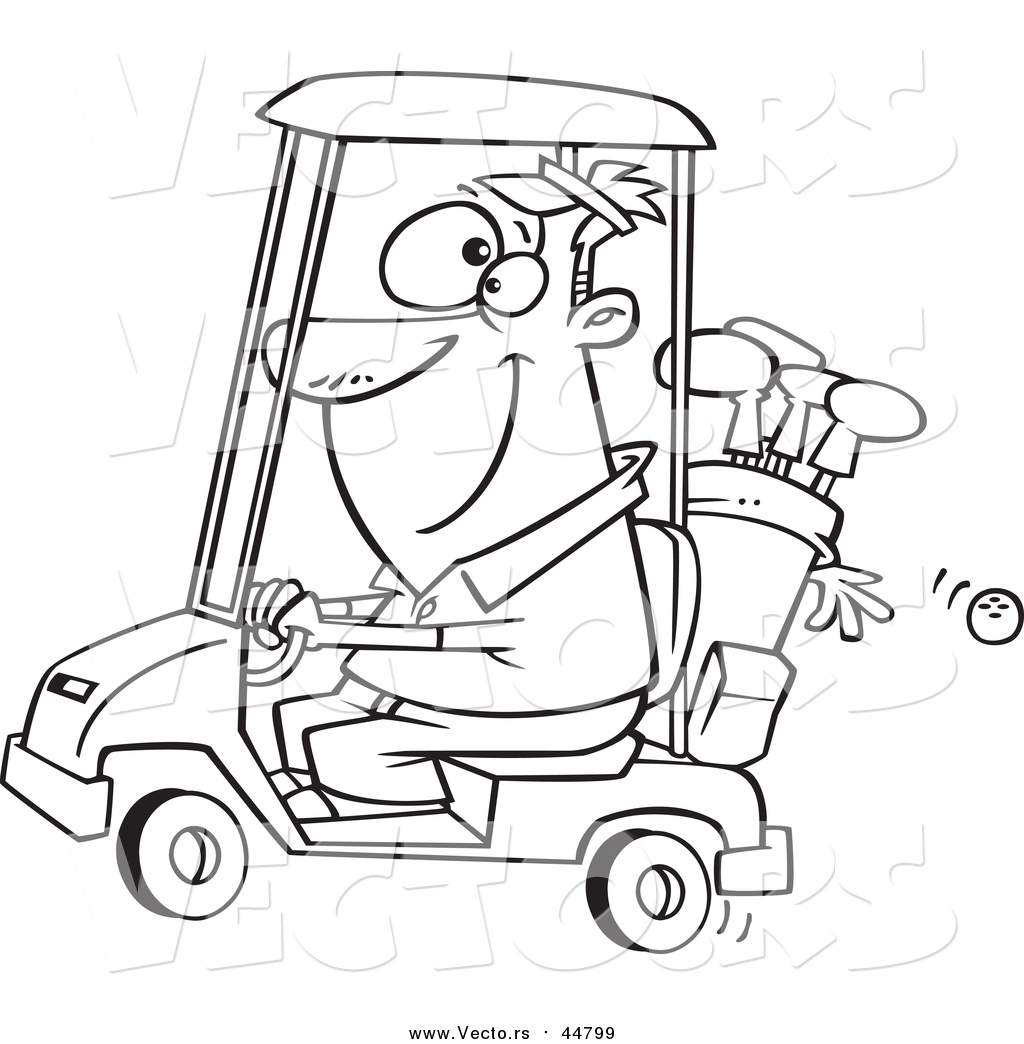 1024x1044 Vector Of A Lineart Happy Man Driving A Golf Cart By Toonaday