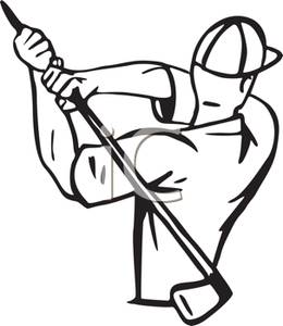260x300 Black And White Cartoon Of A Golfer With A Golf Club In His Hand