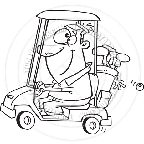 460x460 Cartoon Golfer Driving Golf Cart (Black And White Line Art) By Ron