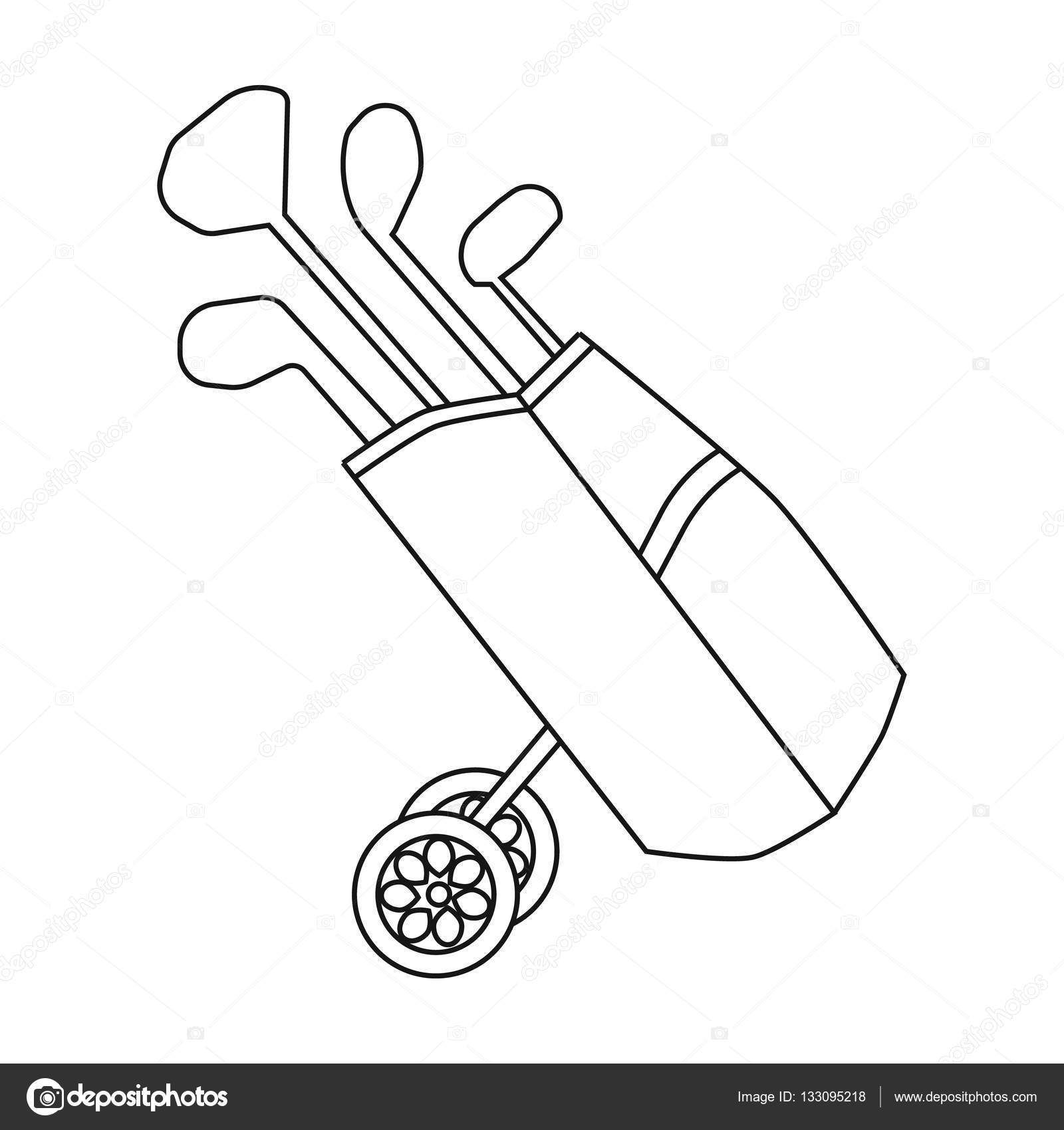 1600x1700 Golf Bag Wheels With Clubs Icon In Outline Style Isolated