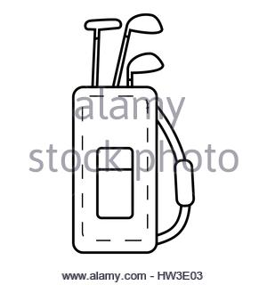 300x320 Golf Clubs Icon, Outline Style Stock Vector Art Amp Illustration