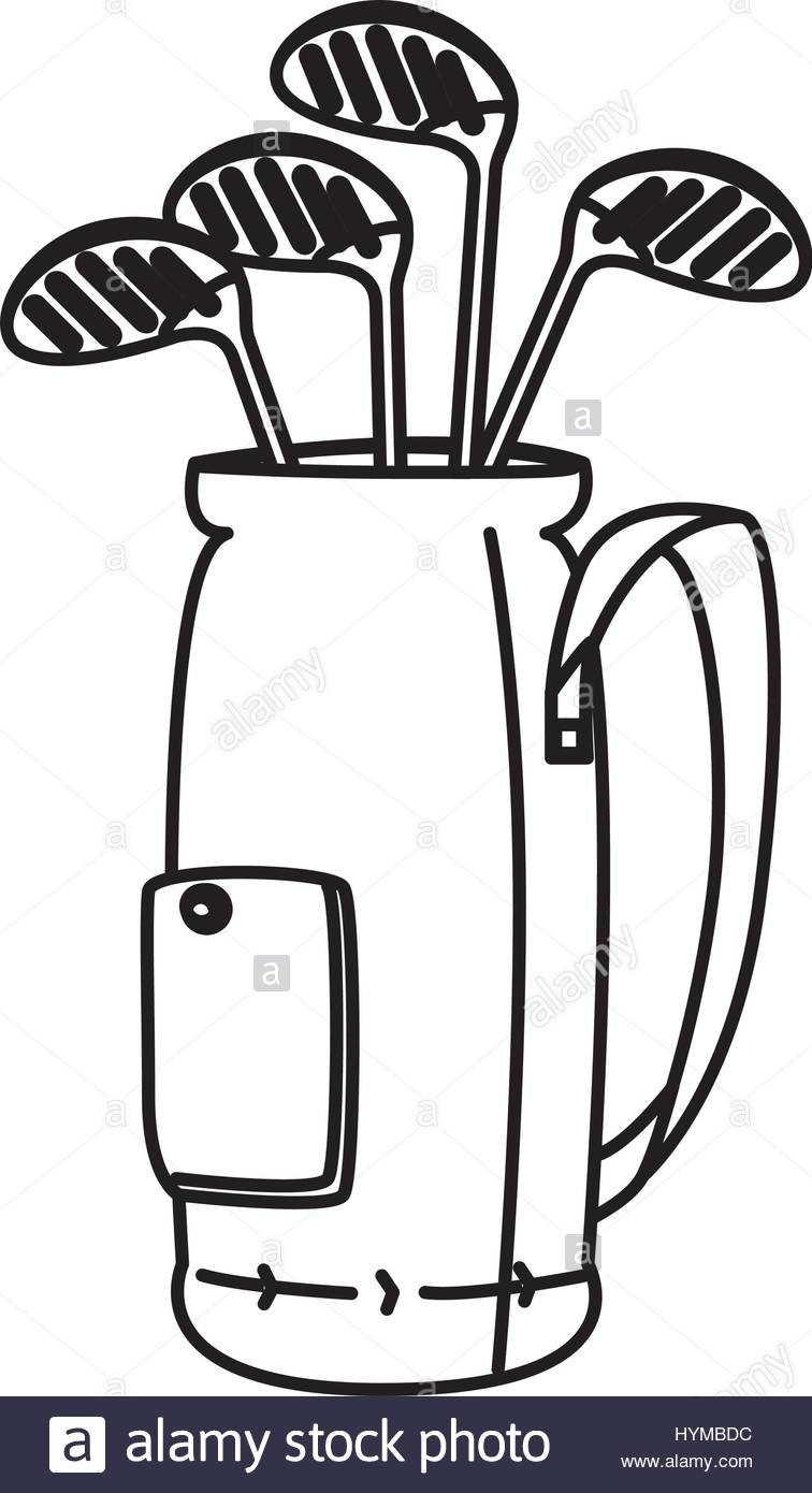 756x1390 Golf Clubs Bag Isolated Icon Vector Illustration Design Stock
