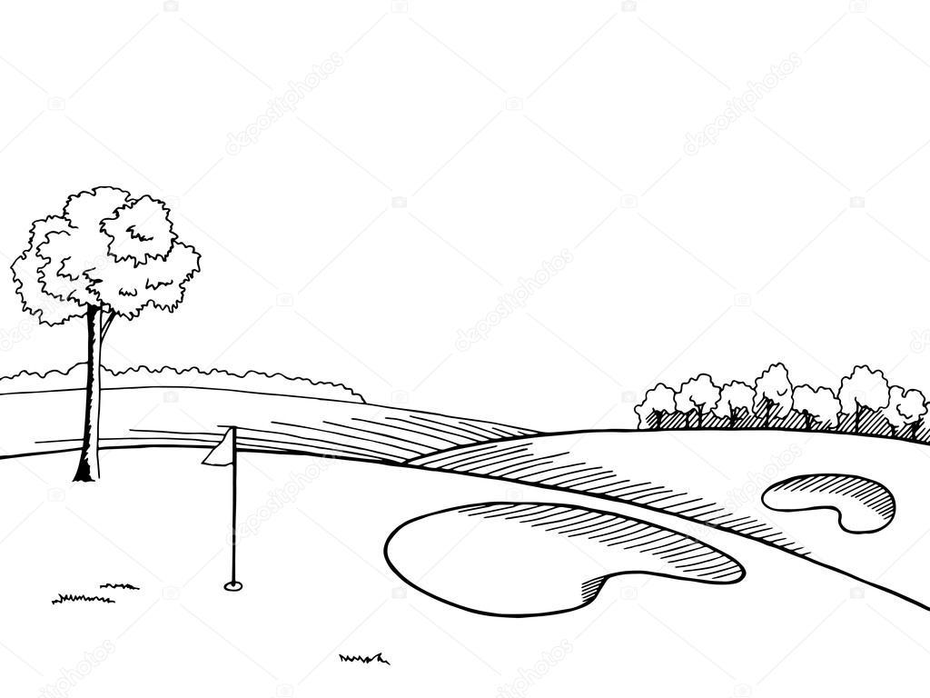 1024x768 Golf Course Graphic Art Black White Landscape Sketch Illustration