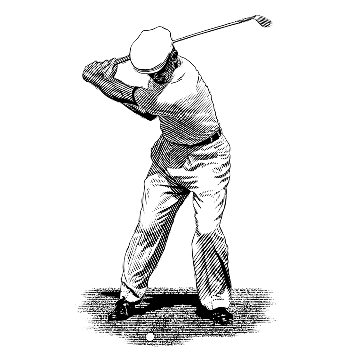 Hand Drawn Golf Player EPS Vector - Instant Download