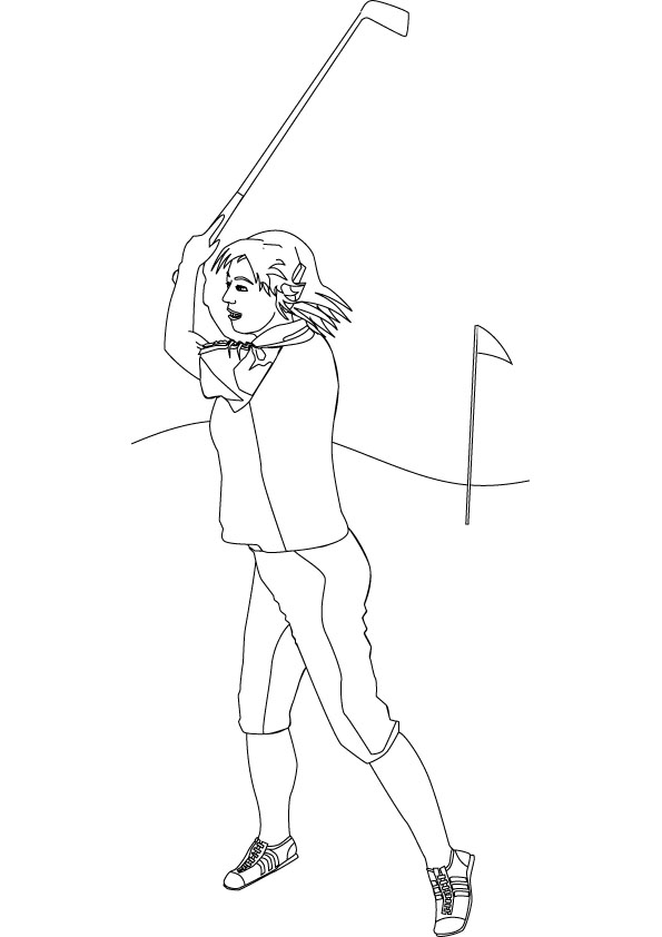 595x842 Download Free Golfer Coloring Page