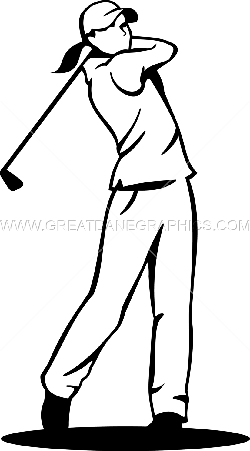 825x1488 Female Golf Swinger Production Ready Artwork For T Shirt Printing