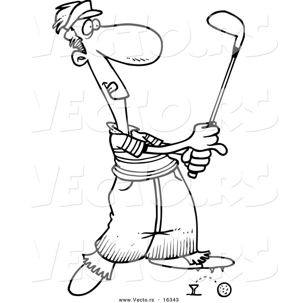 1024x1044 Vector Of A Cartoon Male Golfer Barely Knocking Ball Off