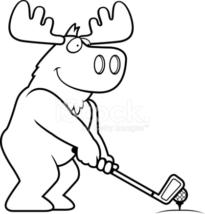419x439 Cartoon Moose Golfing Stock Vector