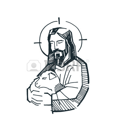 400x450 Hand Drawn Vector Illustration Or Drawing Of Jesus Good Shepherd