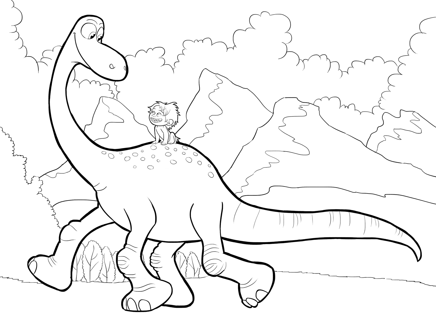 1500x1090 The Good Dinosaur Coloring Pages To Download And Print For Free
