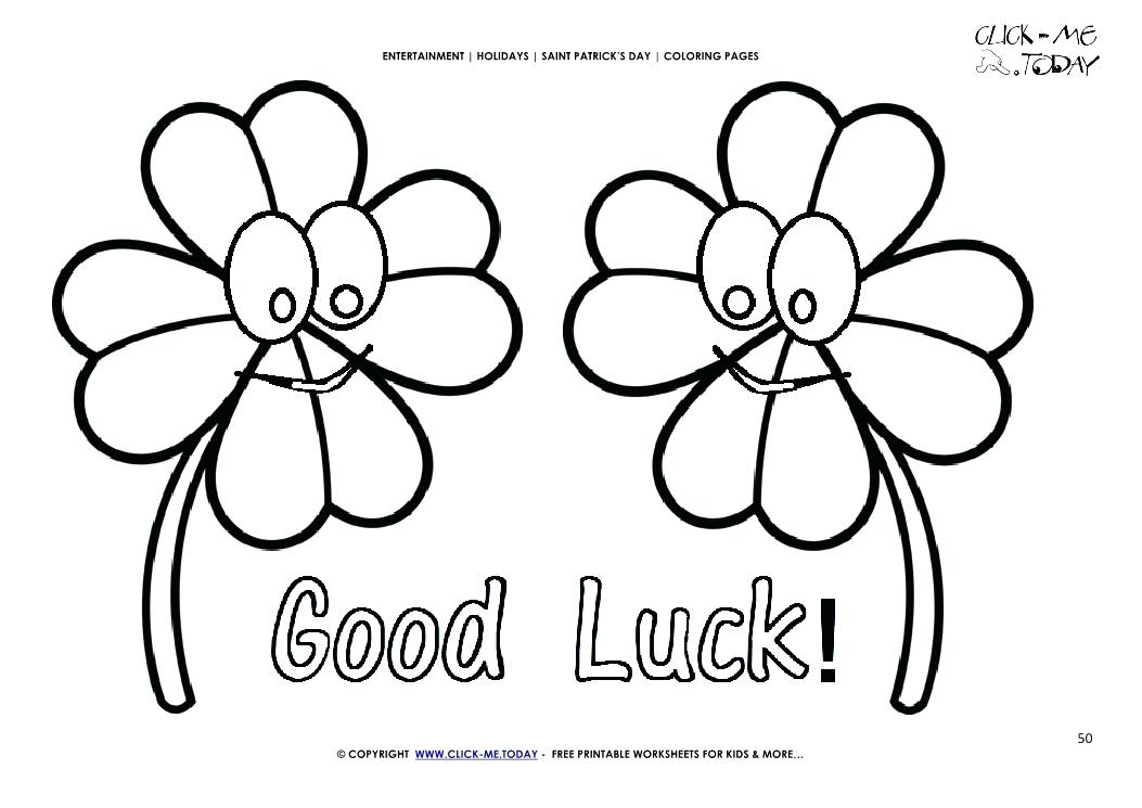 1053x745 Good Luck Coloring Pages St Day Coloring Page Four Leaf Clovers