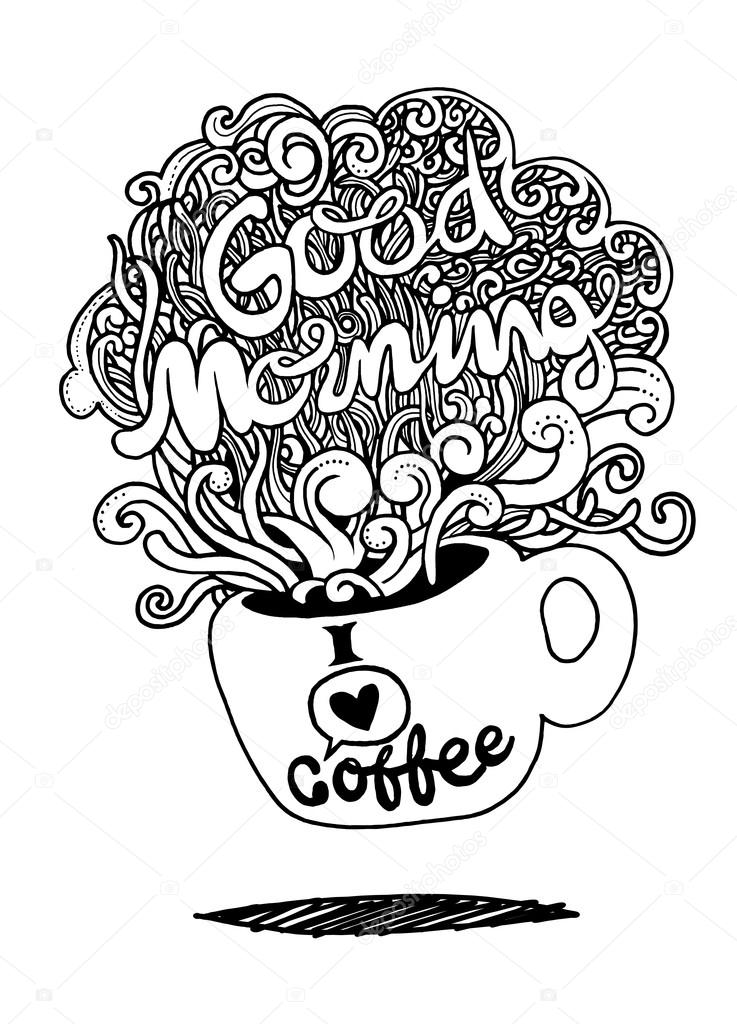 737x1024 Good Morning Sketch With Cup Of Coffee Stock Vector 9george