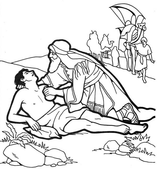 600x643 Good Samaritan Help Half Dead Traveller Coloring Page