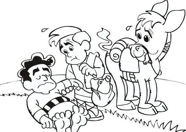 600x425 Good Samaritan Coloring Pages Cartoon Of Good Samaritan Story