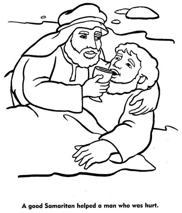 600x703 a good samaritan helped a man who was hurt coloring page