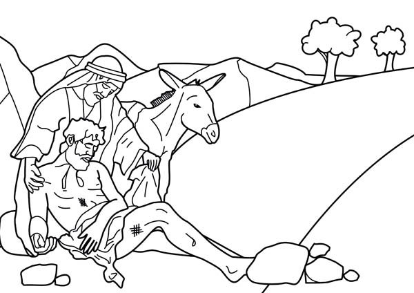 600x424 Story Of Good Samaritan Coloring Page