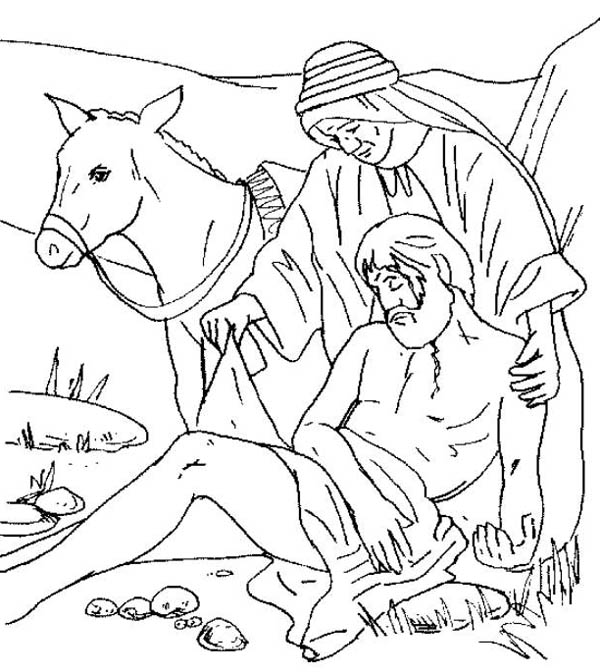600x672 Traveller Being Helped By Good Samaritan Coloring Page
