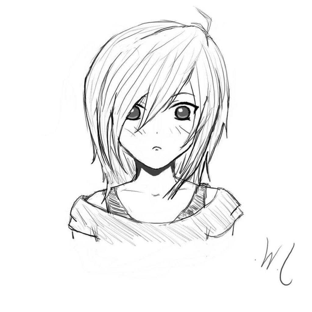 1024x1024 Easy Pencil Drawings Of Anime Girl Easy Anime Girl Drawing Easy