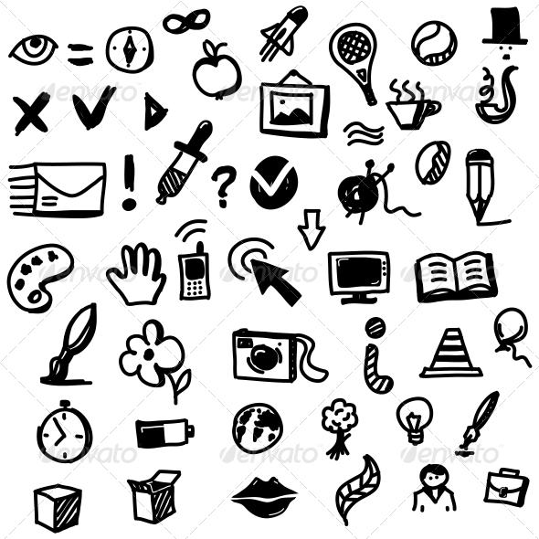 590x590 Hand Drawn Sketch Icon Set By Chuhastock Graphicriver
