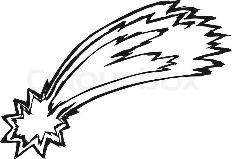 800x549 Hand Drawn, Sketch, Cartoon Illustration Of Comet Stock Vector