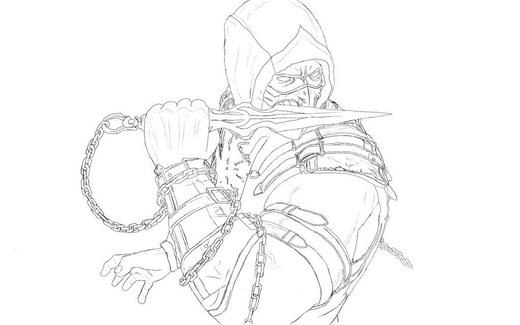 1024x640 Scorpion Mortal Kombat Drawing