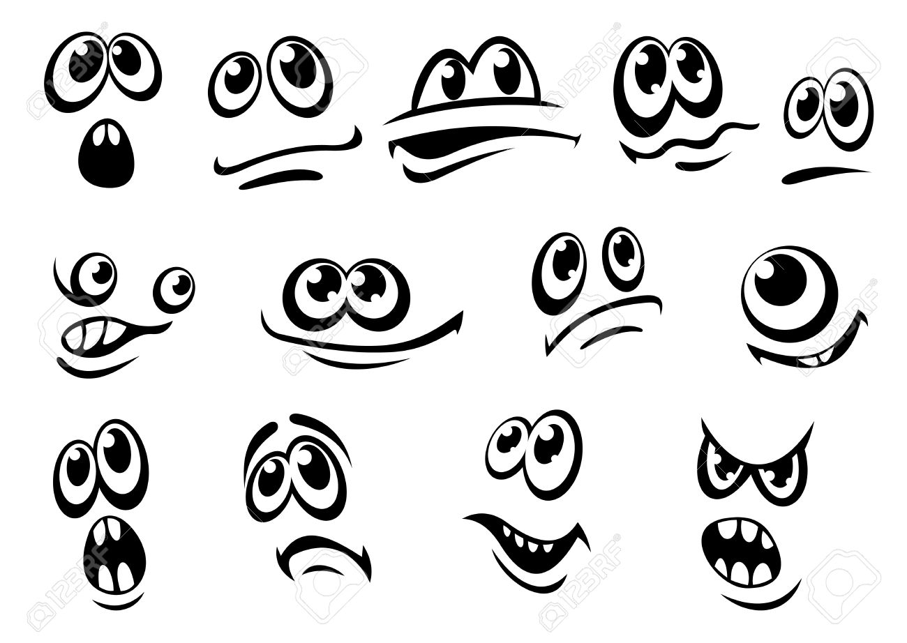 1300x922 Cute Different Black And White Facial Expressions Each With Eyes