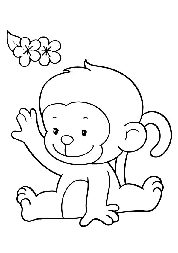 595x842 Coloring Pages For Small Kids Monkey Preschool Funny Print Draw