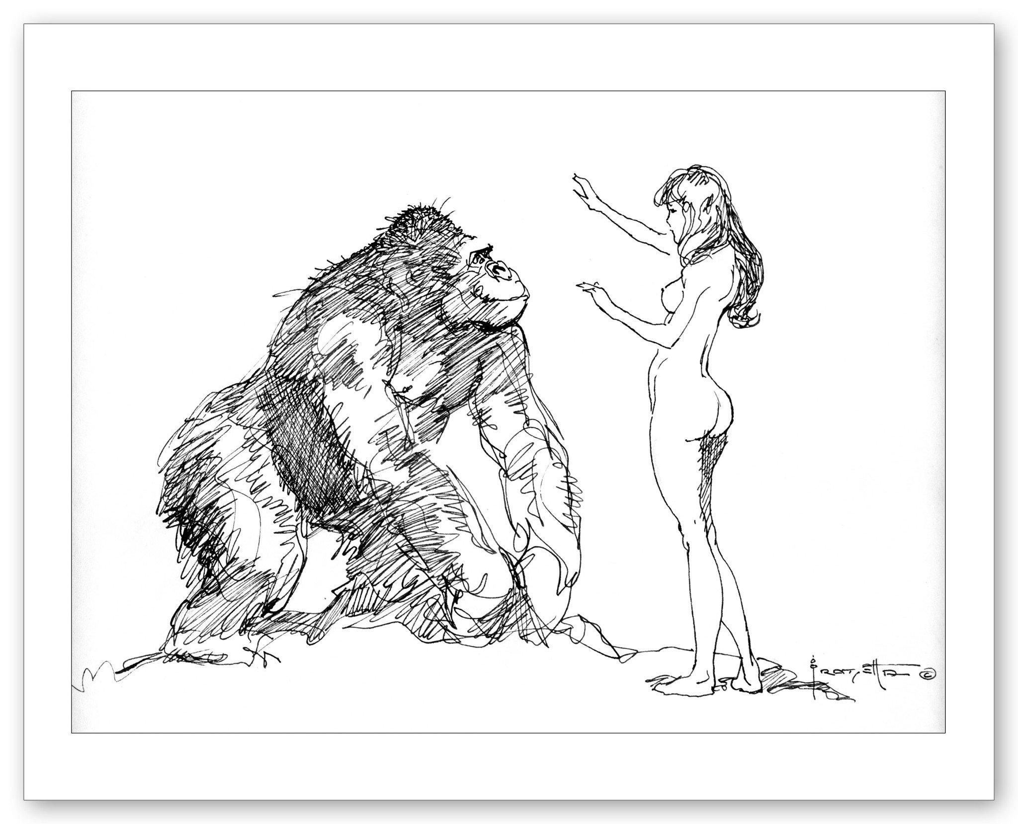 2048x1658 Gorilla And Girl Frazetta Girls, Llc